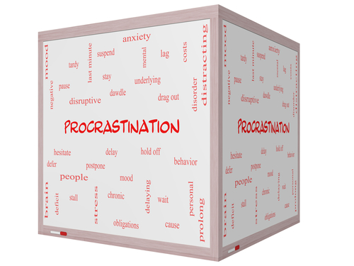 Procrastination Word Cloud Concept on a 3D cube Whiteboard