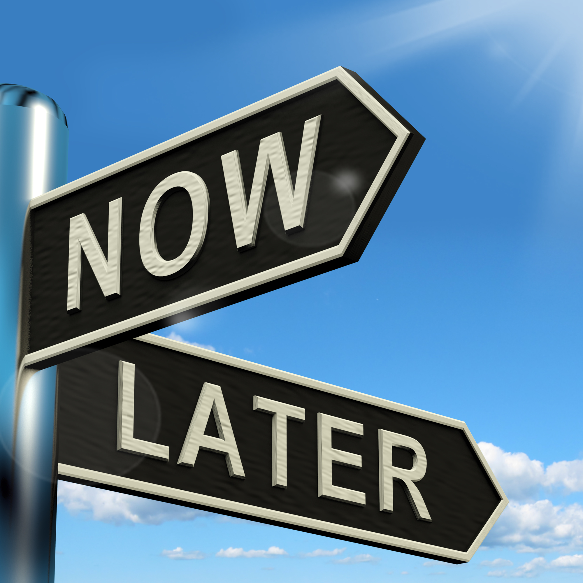 Now Or Later Signpost Shows Delay Deadlines And Urgency