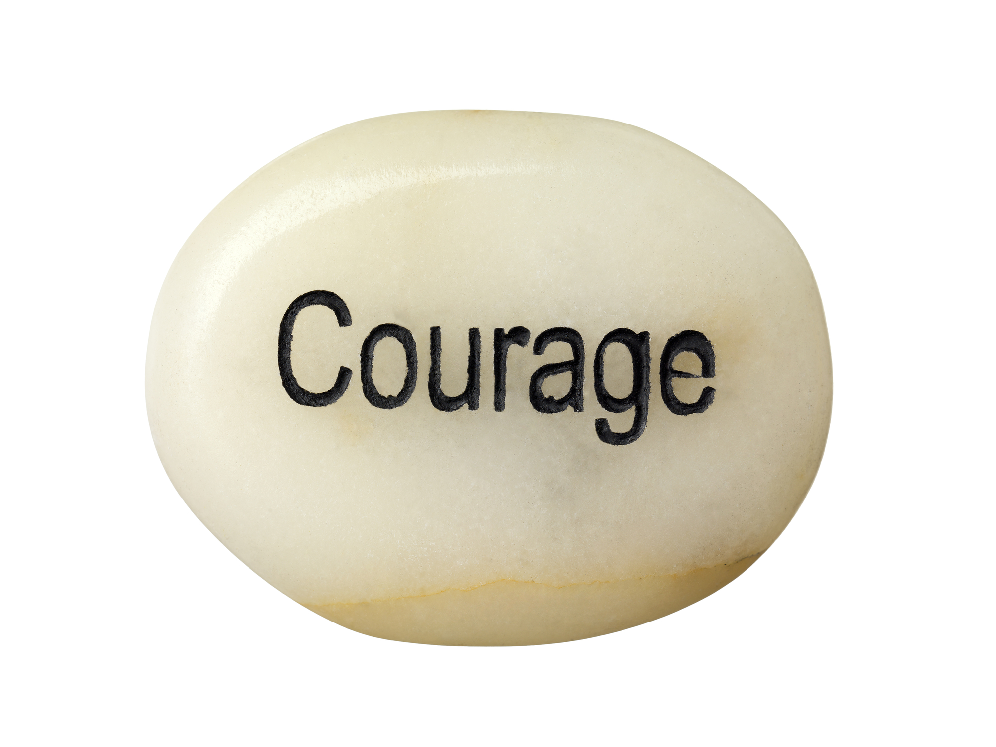 A stone with a courage word isolated on a white background